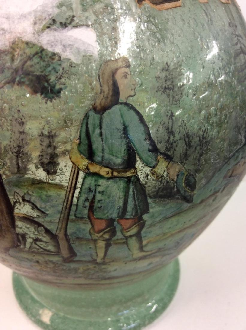Vintage/Antique Painted Green Glass Vase - 2