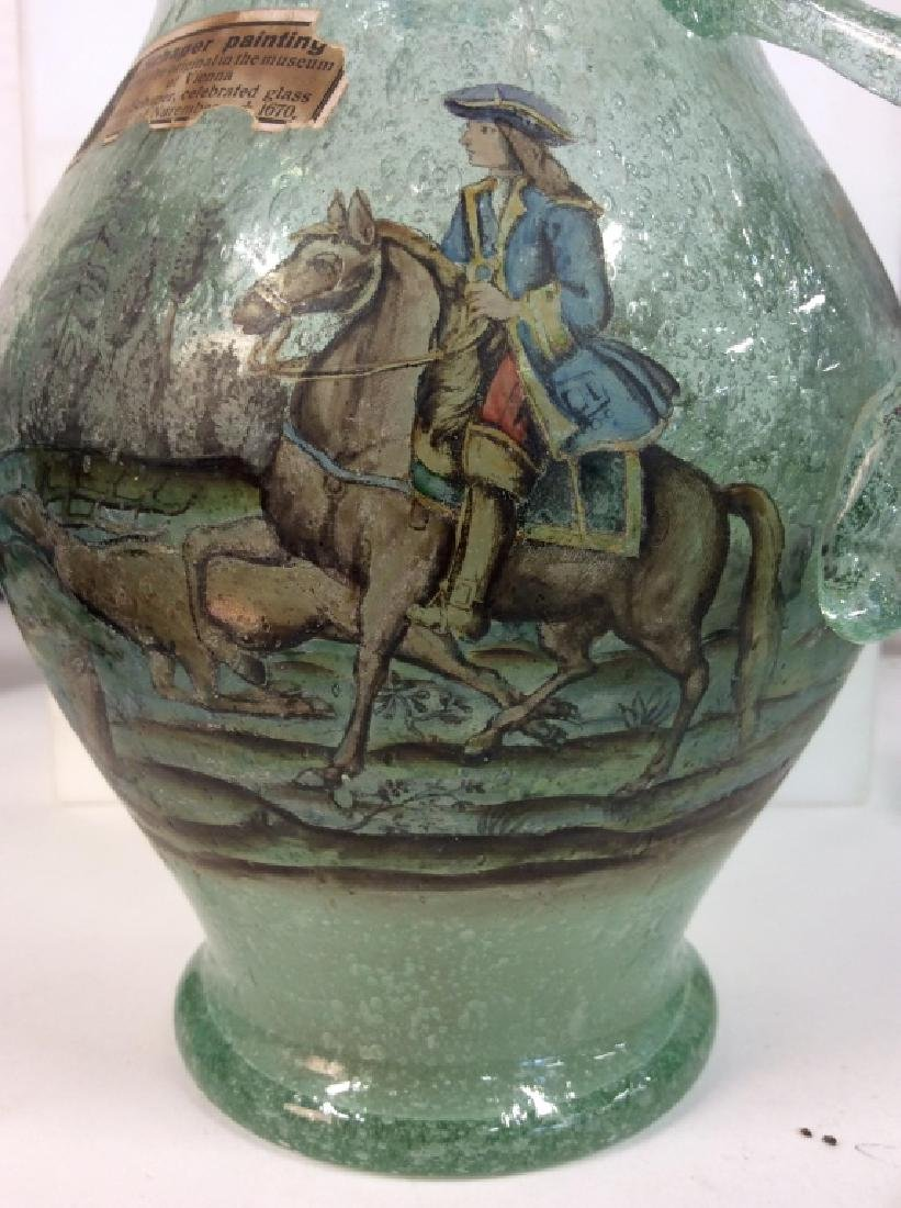Vintage/Antique Painted Green Glass Vase - 4