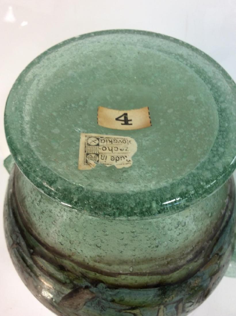Vintage/Antique Painted Green Glass Vase - 6