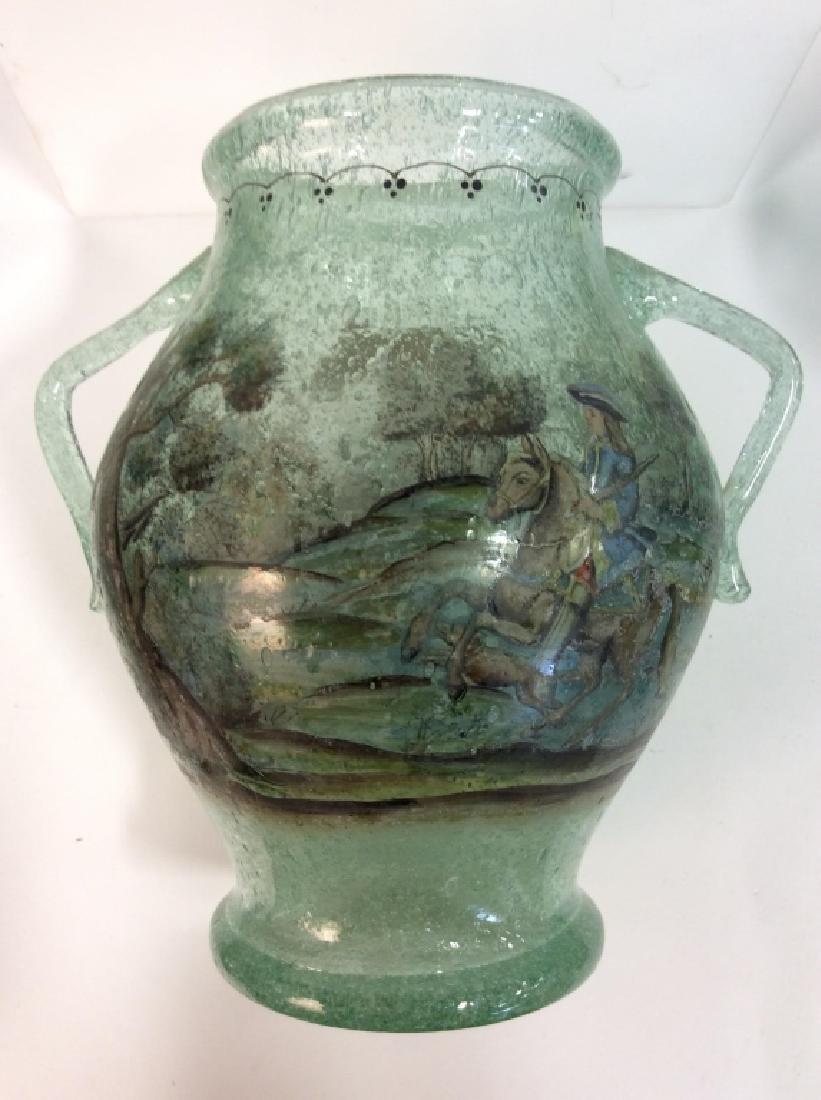 Vintage/Antique Painted Green Glass Vase - 7