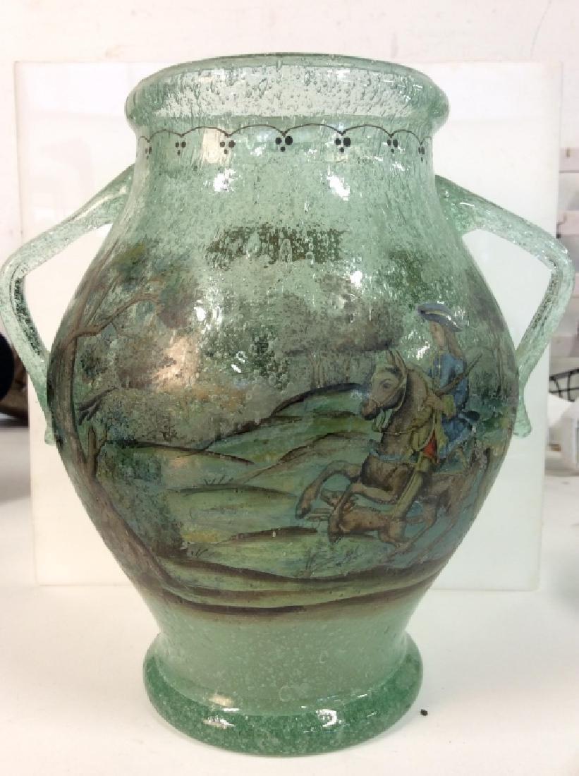 Vintage/Antique Painted Green Glass Vase - 9