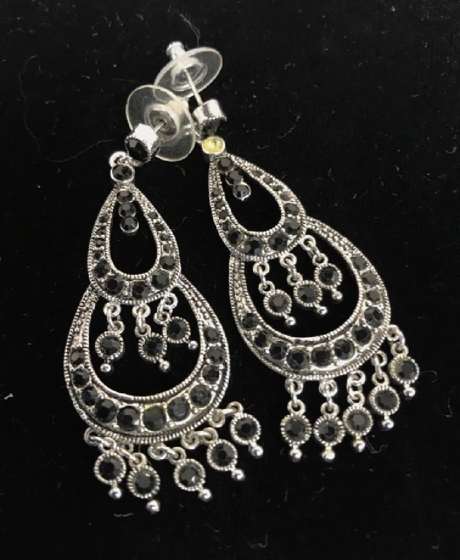 Pair Vintage Rhinestone Drop Bead Earrings