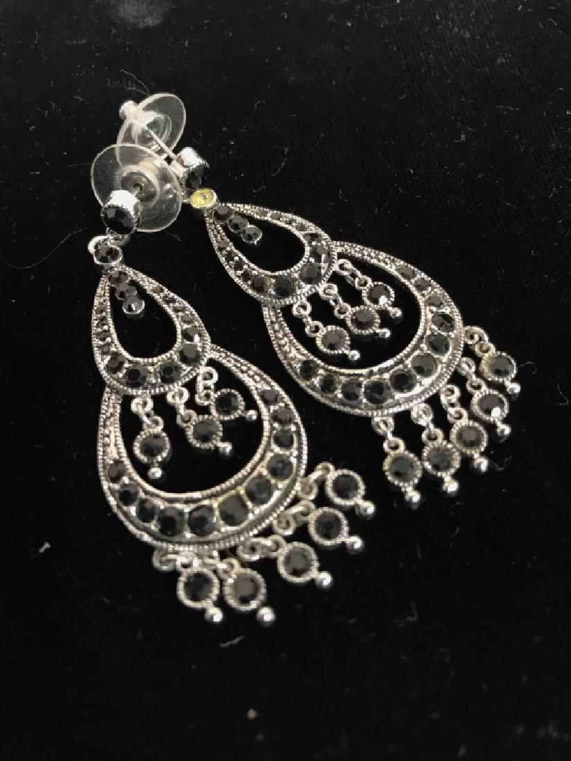 Pair Vintage Rhinestone Drop Bead Earrings - 2