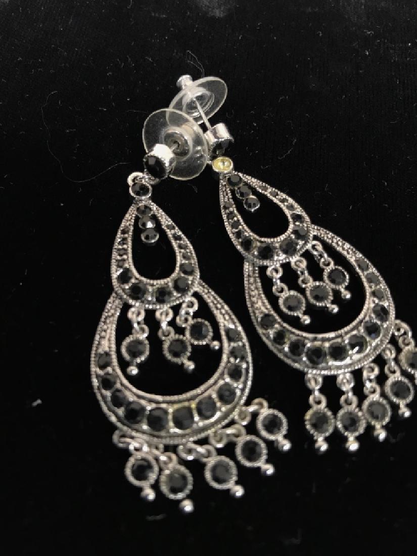 Pair Vintage Rhinestone Drop Bead Earrings - 3