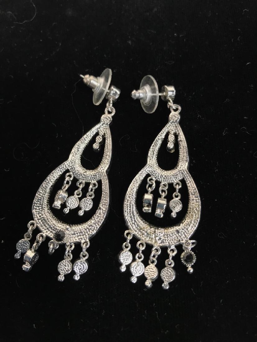 Pair Vintage Rhinestone Drop Bead Earrings - 4