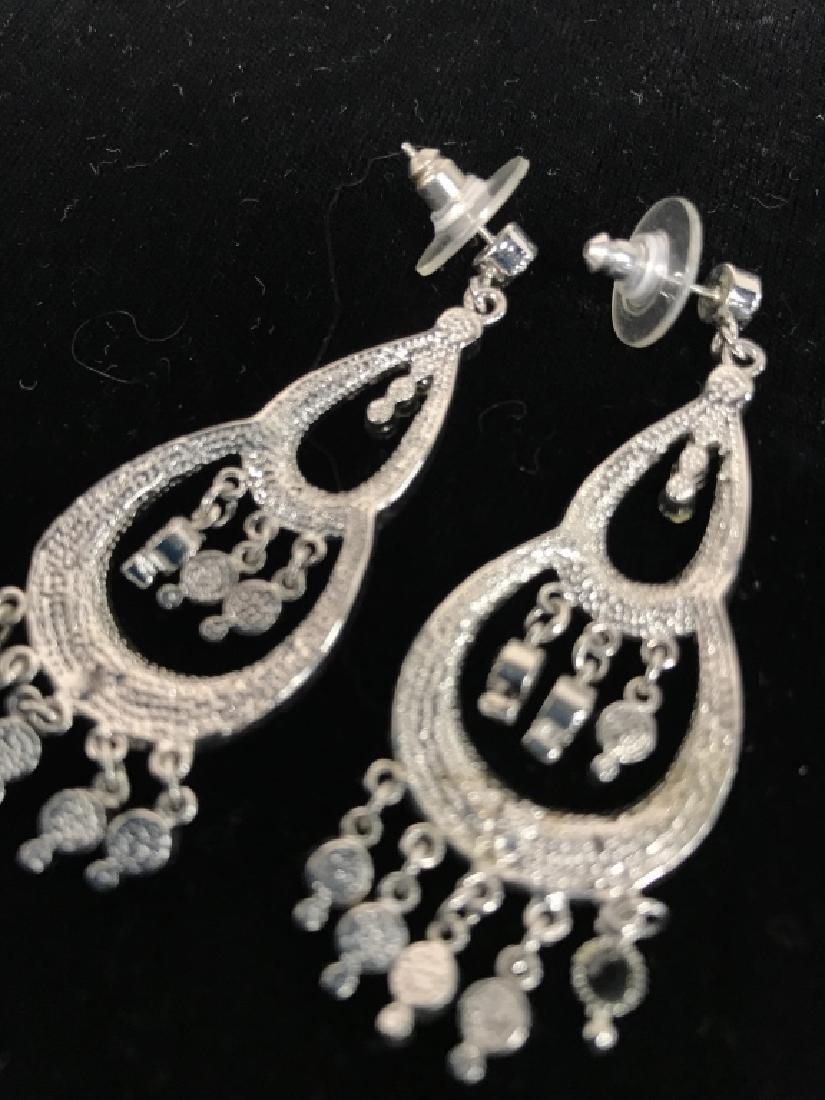 Pair Vintage Rhinestone Drop Bead Earrings - 5