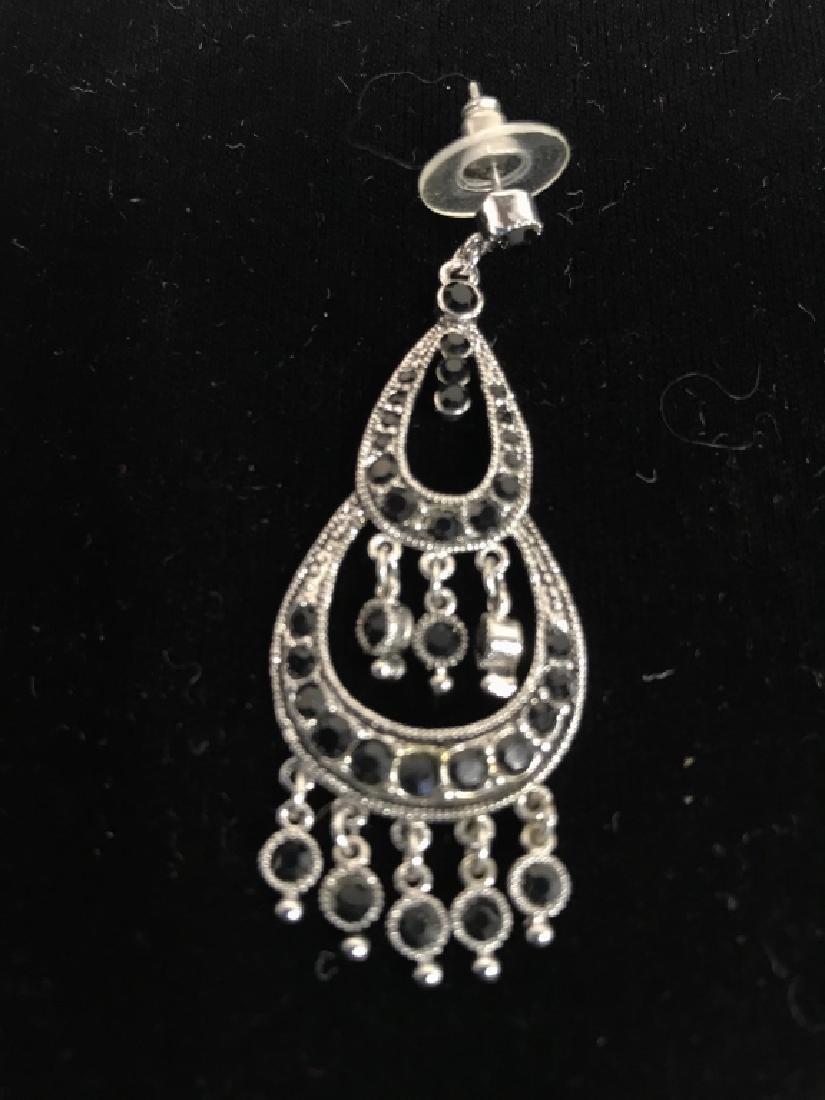 Pair Vintage Rhinestone Drop Bead Earrings - 6