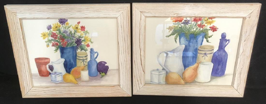 Framed Pair of Watercolor Paintings of Still Life
