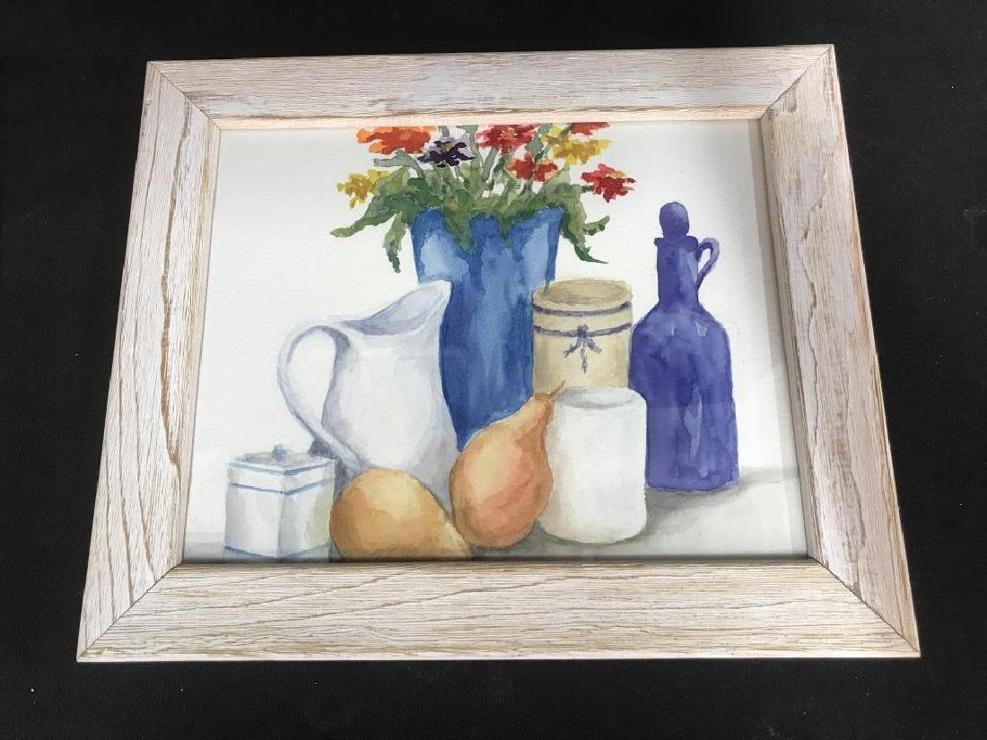 Framed Pair of Watercolor Paintings of Still Life - 7