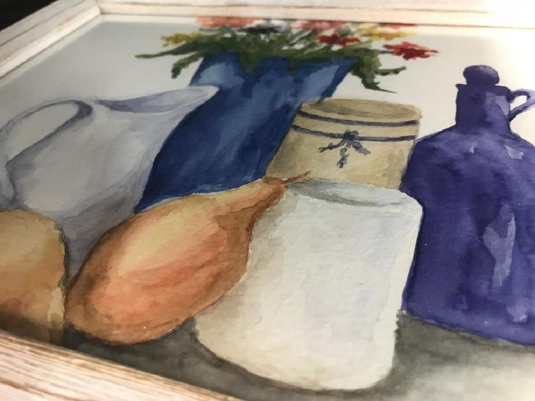 Framed Pair of Watercolor Paintings of Still Life - 8