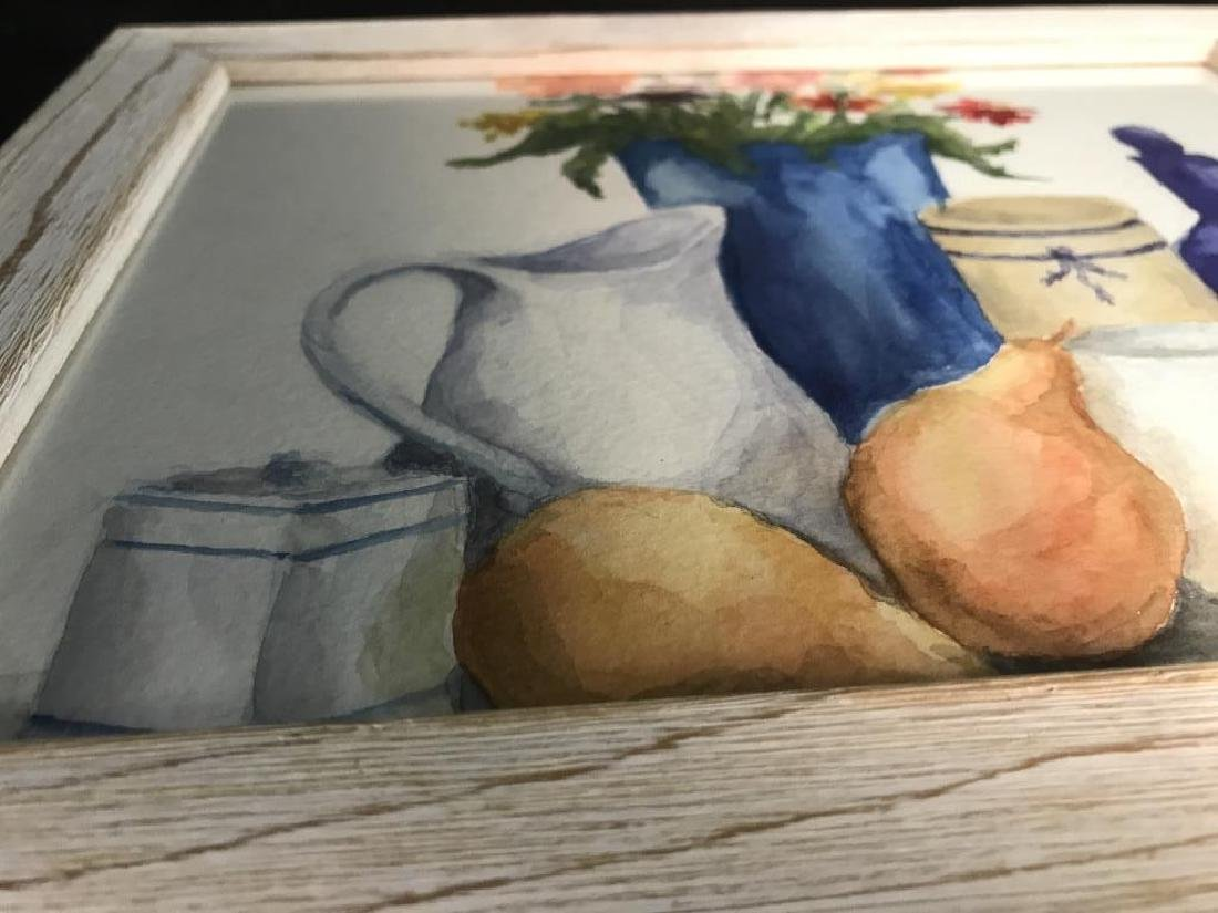 Framed Pair of Watercolor Paintings of Still Life - 9