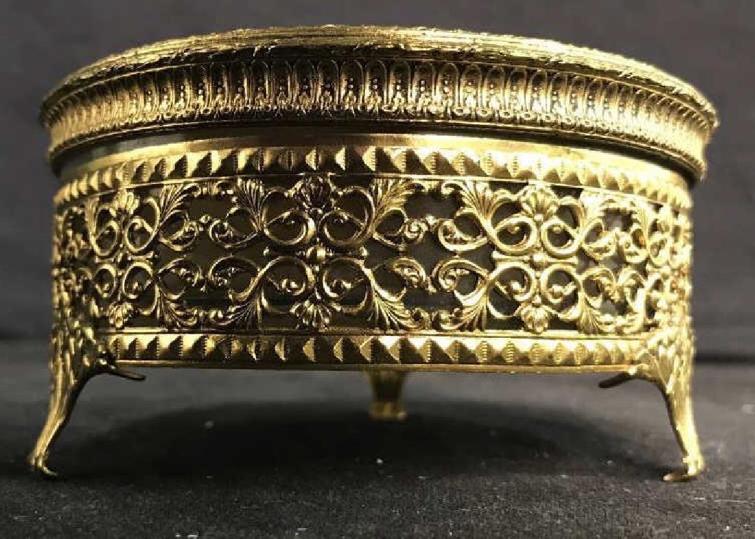 GLOBE Gold Plated Circular Trinket Box