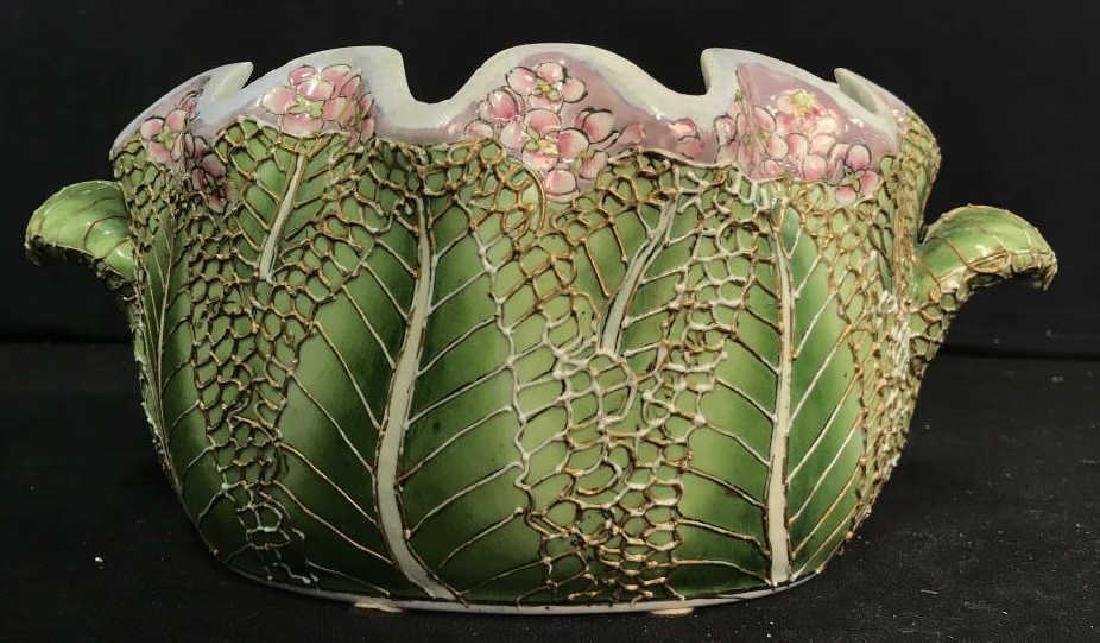 Porcelain Pot W Handles Stylized as Leaf