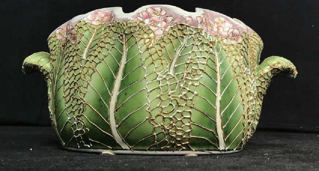 Porcelain Pot W Handles Stylized as Leaf - 3