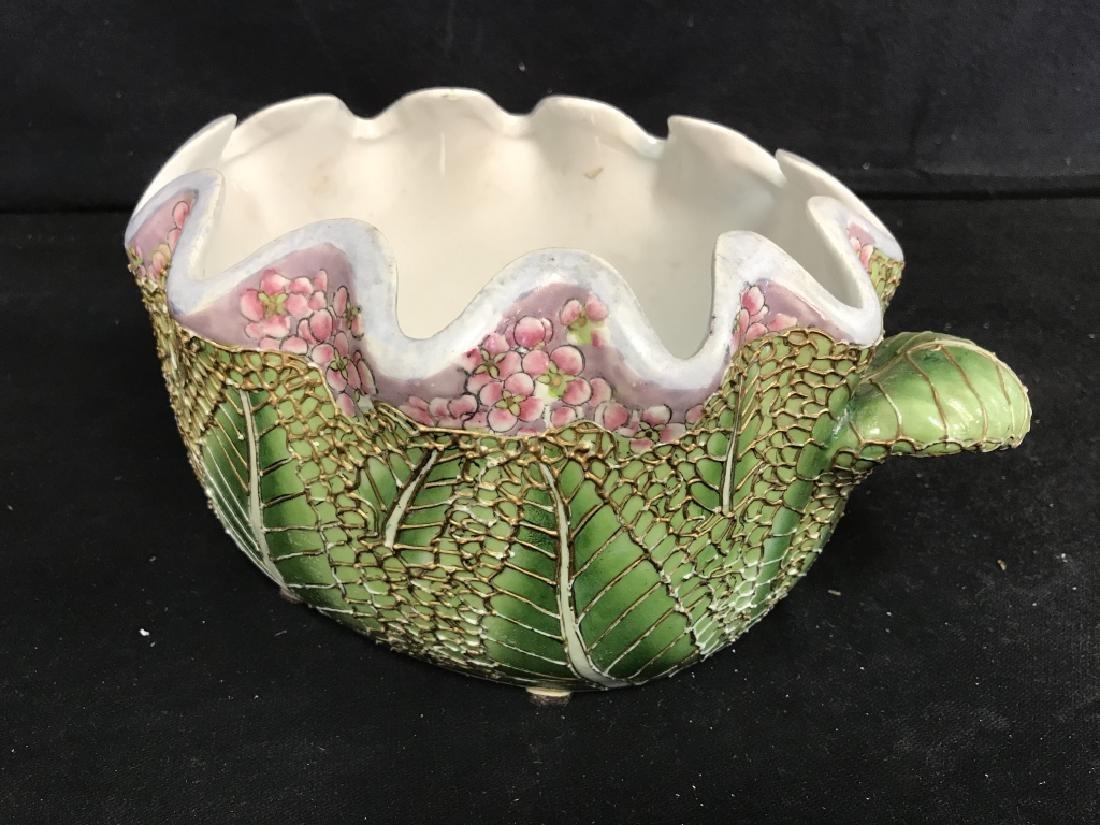 Porcelain Pot W Handles Stylized as Leaf - 5