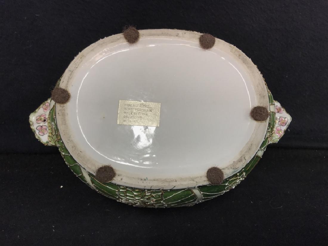 Porcelain Pot W Handles Stylized as Leaf - 7