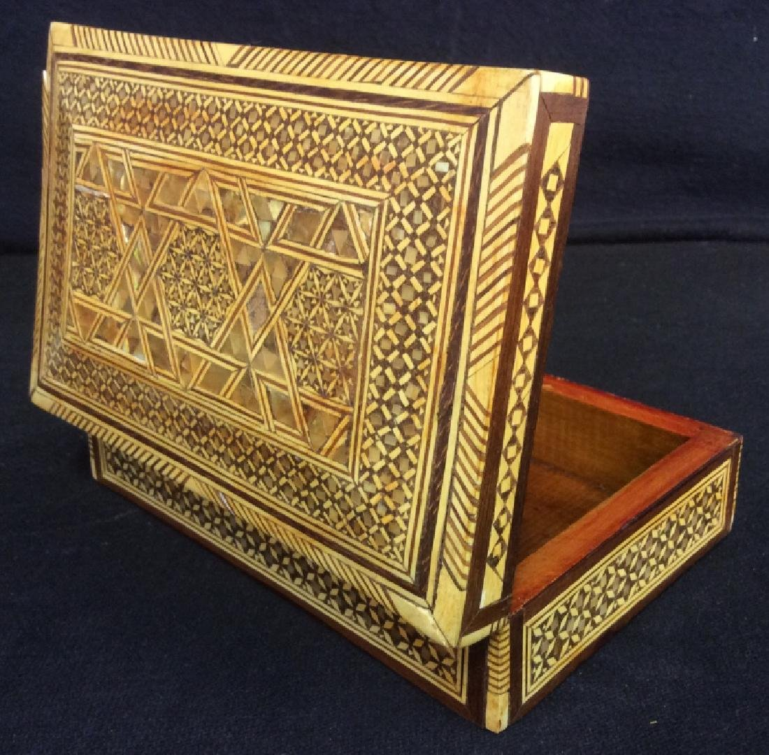 Wood Middle Eastern Mother Of Pearl Mosaic Box