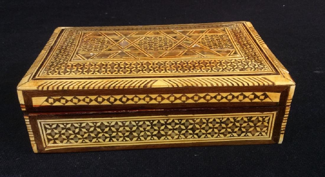 Wood Middle Eastern Mother Of Pearl Mosaic Box - 2