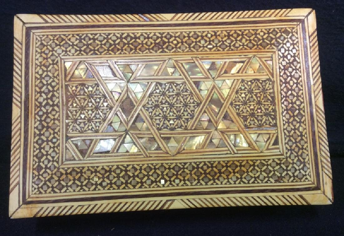 Wood Middle Eastern Mother Of Pearl Mosaic Box - 4
