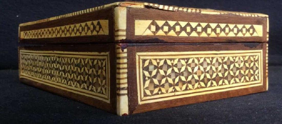 Wood Middle Eastern Mother Of Pearl Mosaic Box - 9