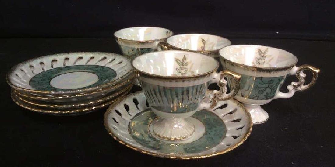 Set of Pearlescent Tea Cups & Saucers - 2