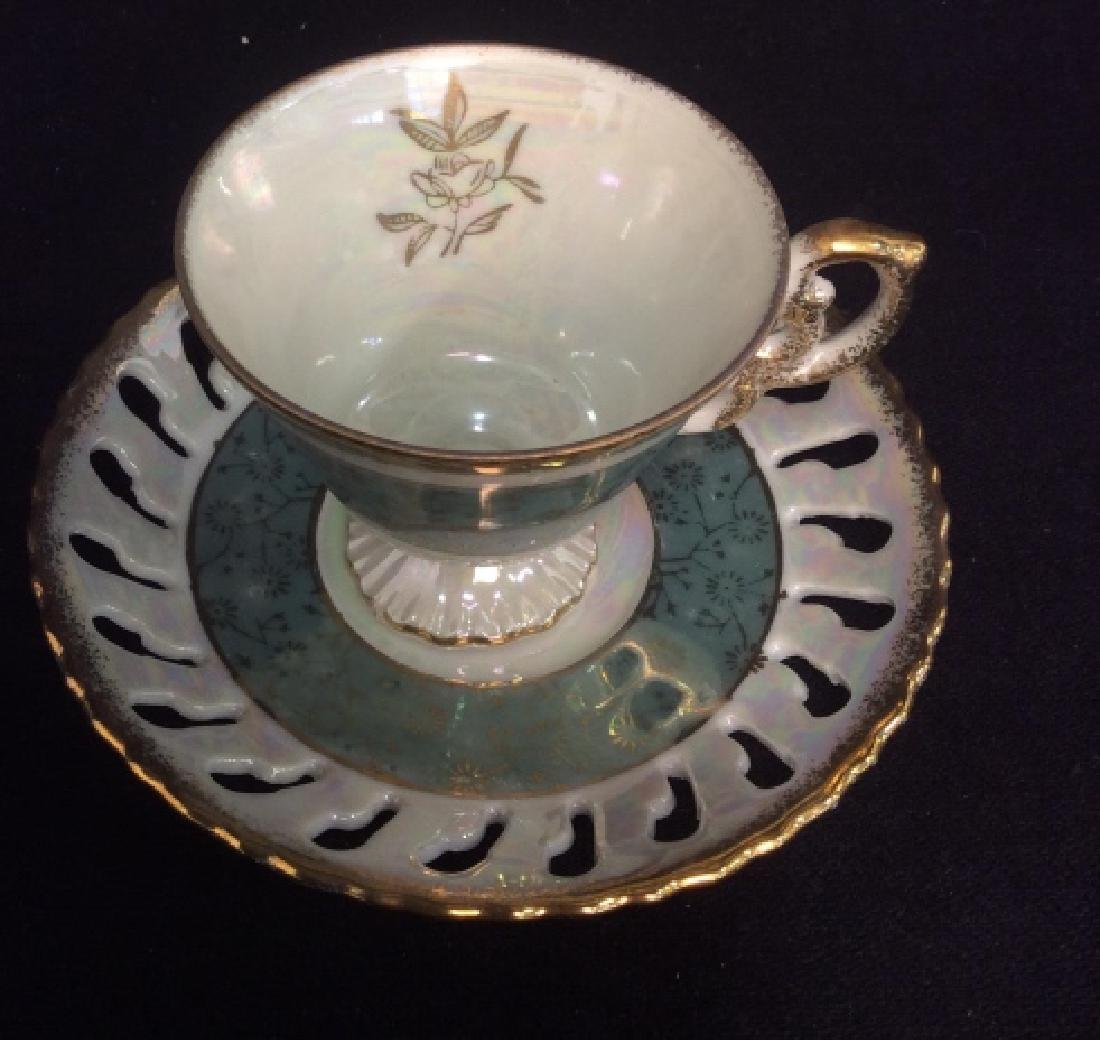 Set of Pearlescent Tea Cups & Saucers - 3