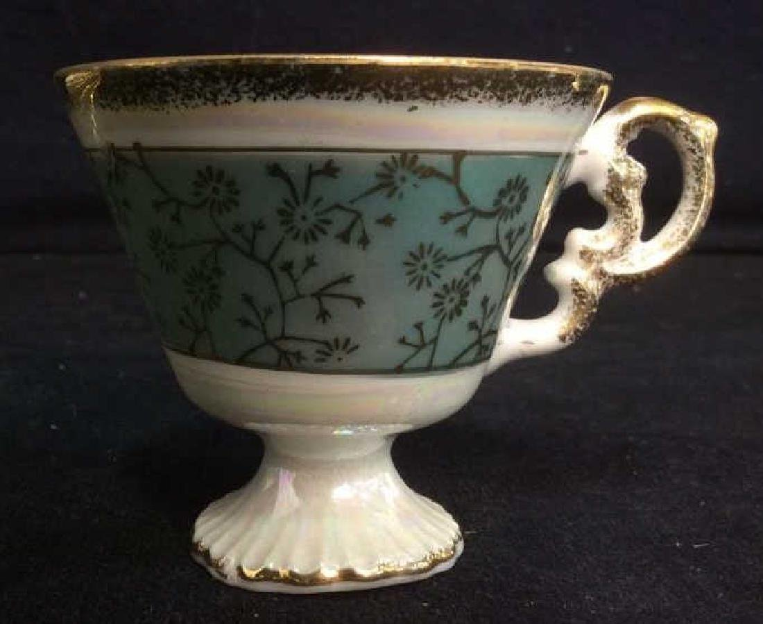 Set of Pearlescent Tea Cups & Saucers - 7