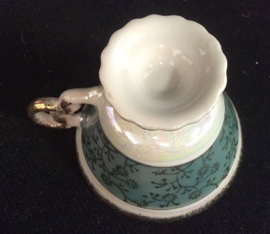 Set of Pearlescent Tea Cups & Saucers - 8