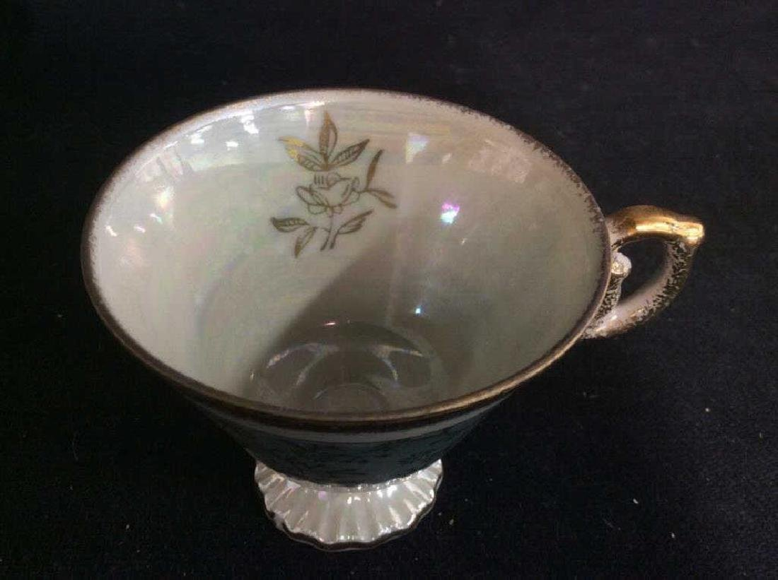 Set of Pearlescent Tea Cups & Saucers - 9