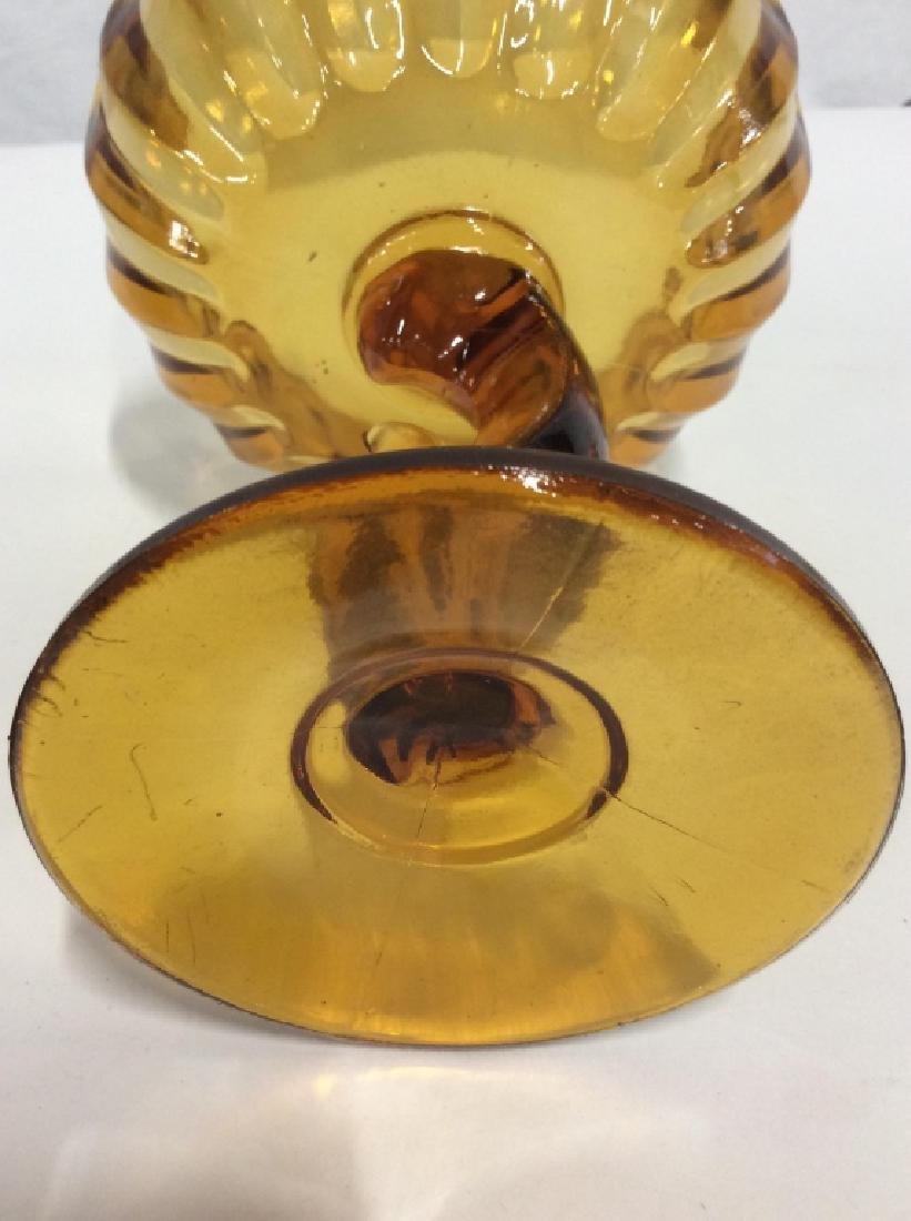 Vintage Carmel Toned Glass Pedestal Bowl - 7