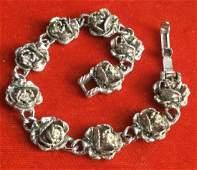 Silver Tone Rose Charm Linked Bracelet
