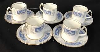 Set Coalport Porcelain Espresso Cups Saucers