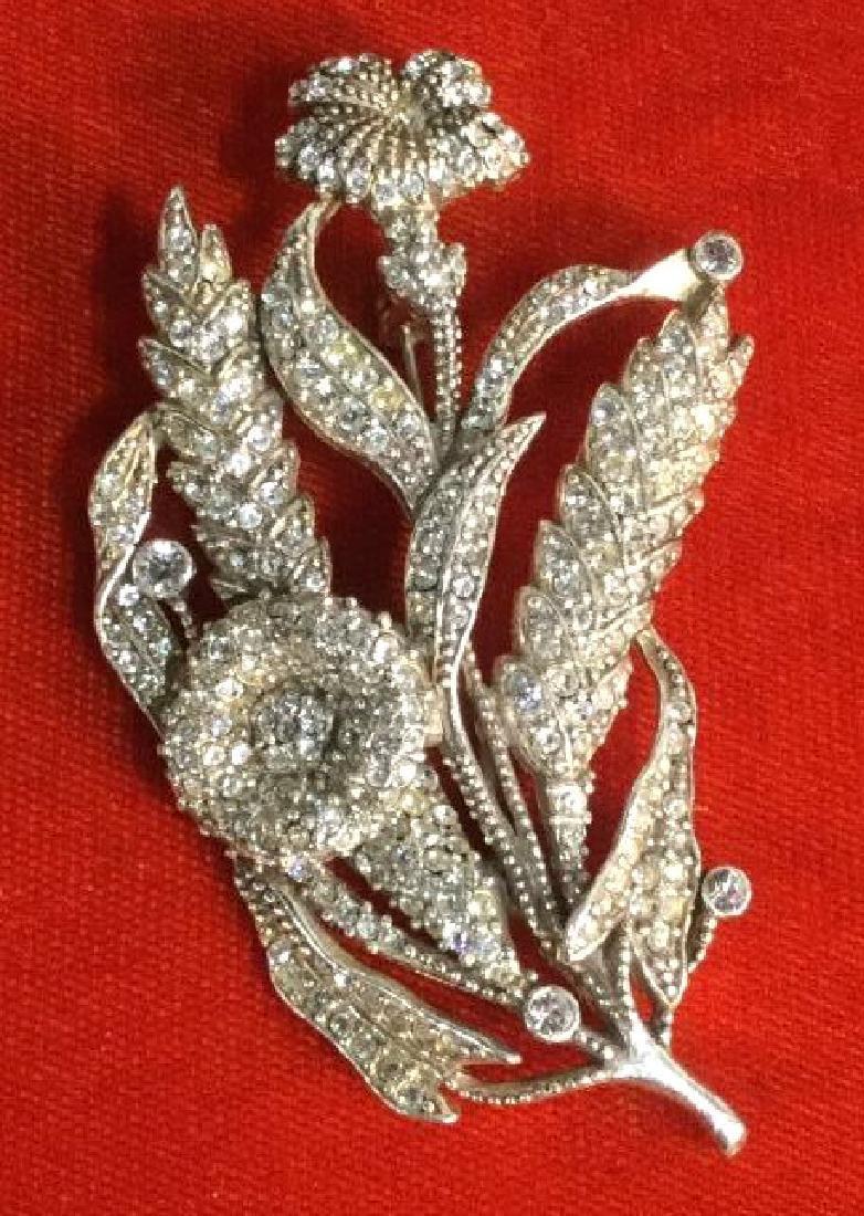 Rhinestone Encrusted Flower Brooch