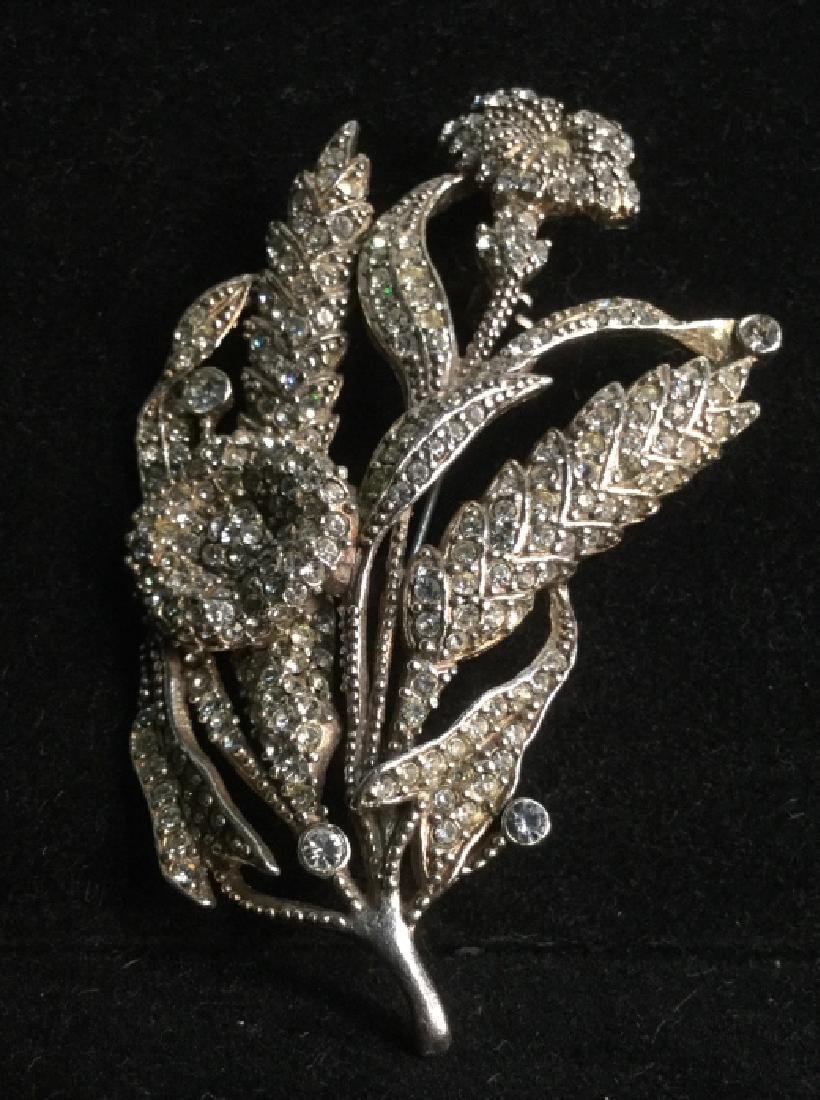 Rhinestone Encrusted Flower Brooch - 2