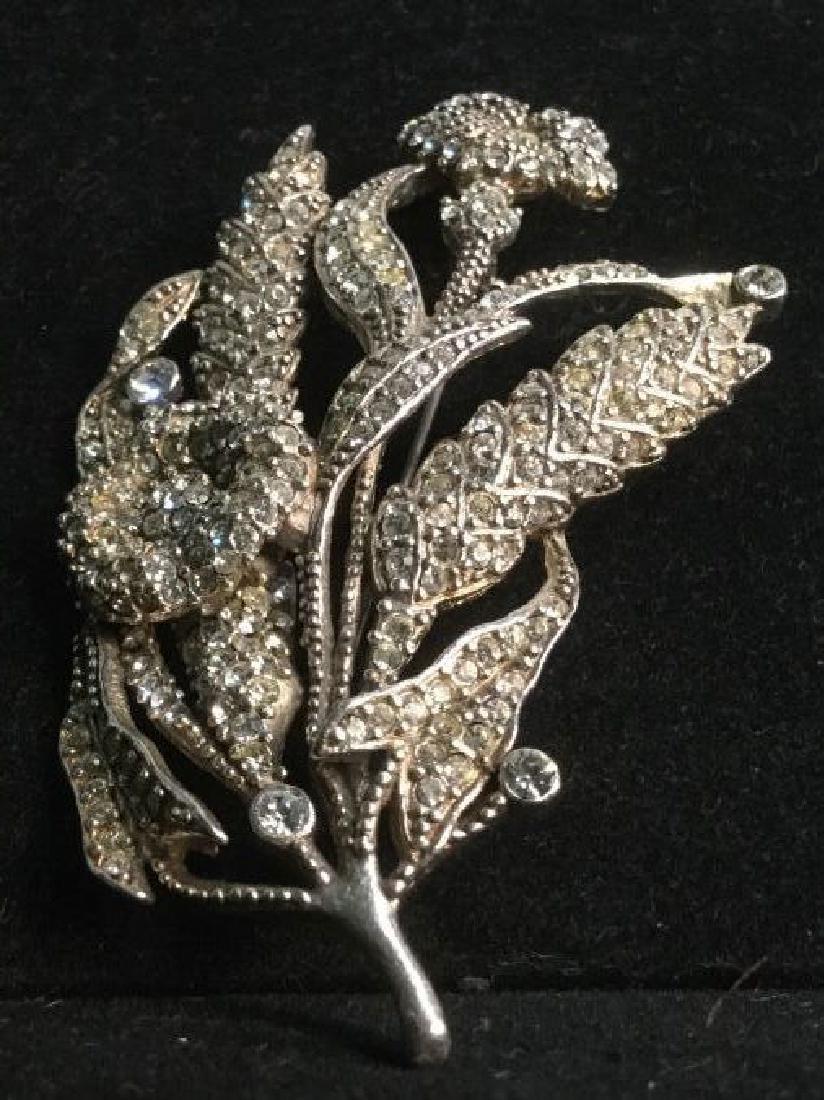 Rhinestone Encrusted Flower Brooch - 3