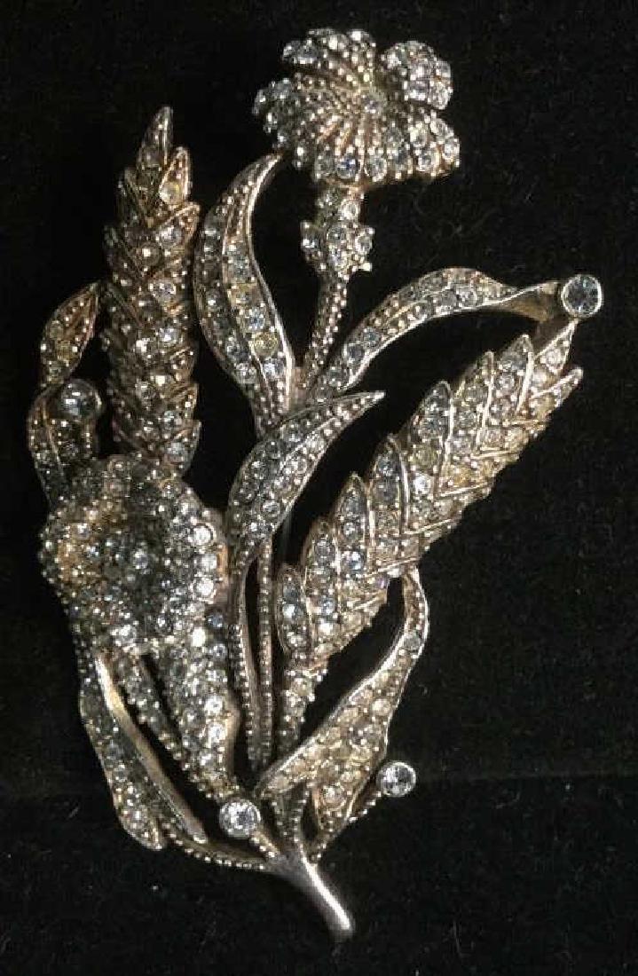 Rhinestone Encrusted Flower Brooch - 4