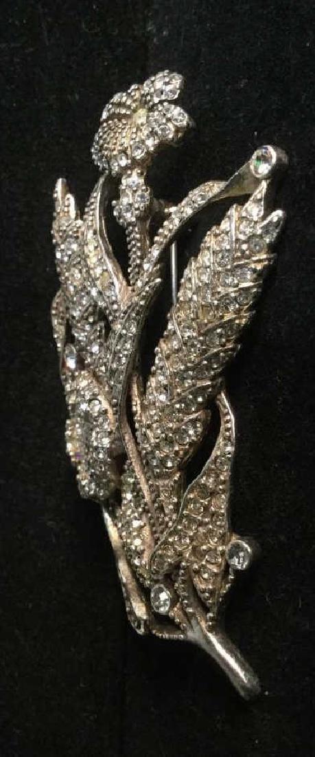 Rhinestone Encrusted Flower Brooch - 6