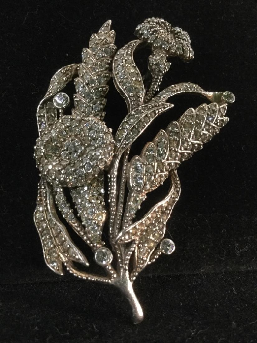 Rhinestone Encrusted Flower Brooch - 9