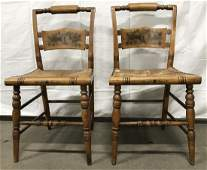 Pair Hitchcock Stenciled Chairs With Rush Seats