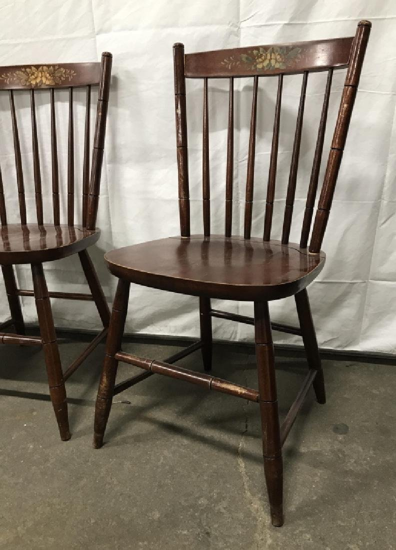 Set 3 L Hitchcock Stenciled Spindle Back Chairs - 2