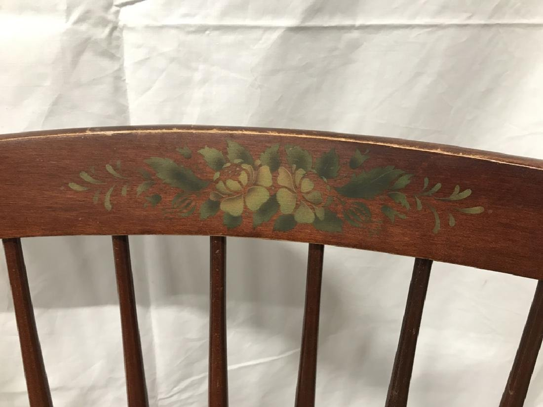 Set 3 L Hitchcock Stenciled Spindle Back Chairs - 4