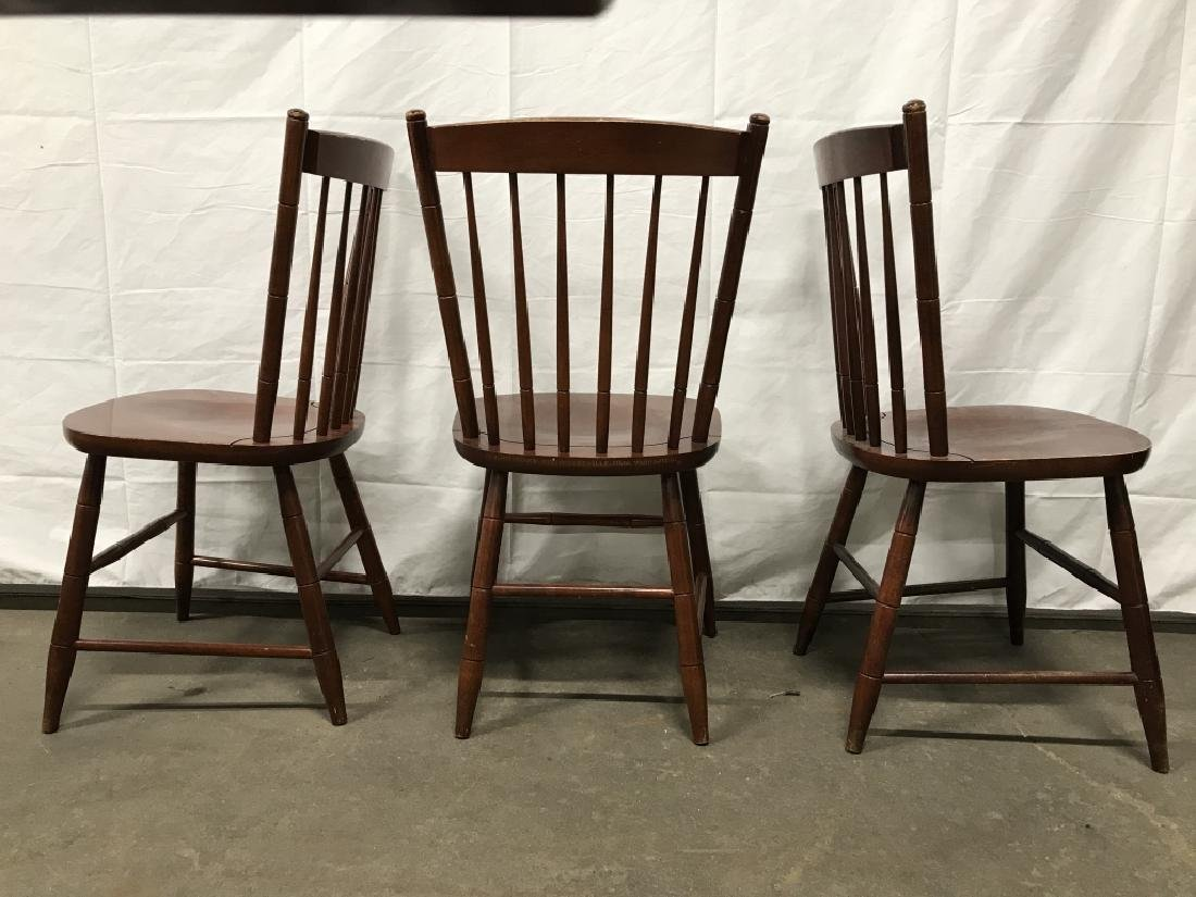 Set 3 L Hitchcock Stenciled Spindle Back Chairs - 7