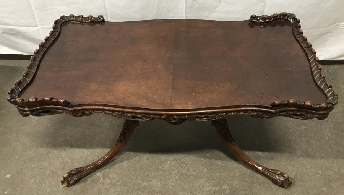 Poss Antique Mahogany Toned Claw Footed Table - 2