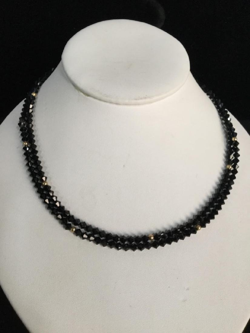 Long Black & Gold Tone Beaded Necklace - 2