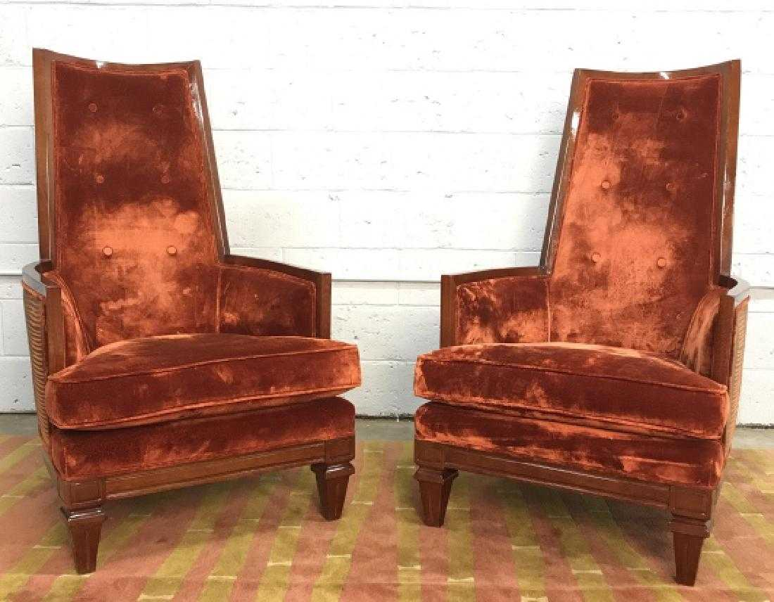 Pair Deco Style Bretz High Back Arm Chairs