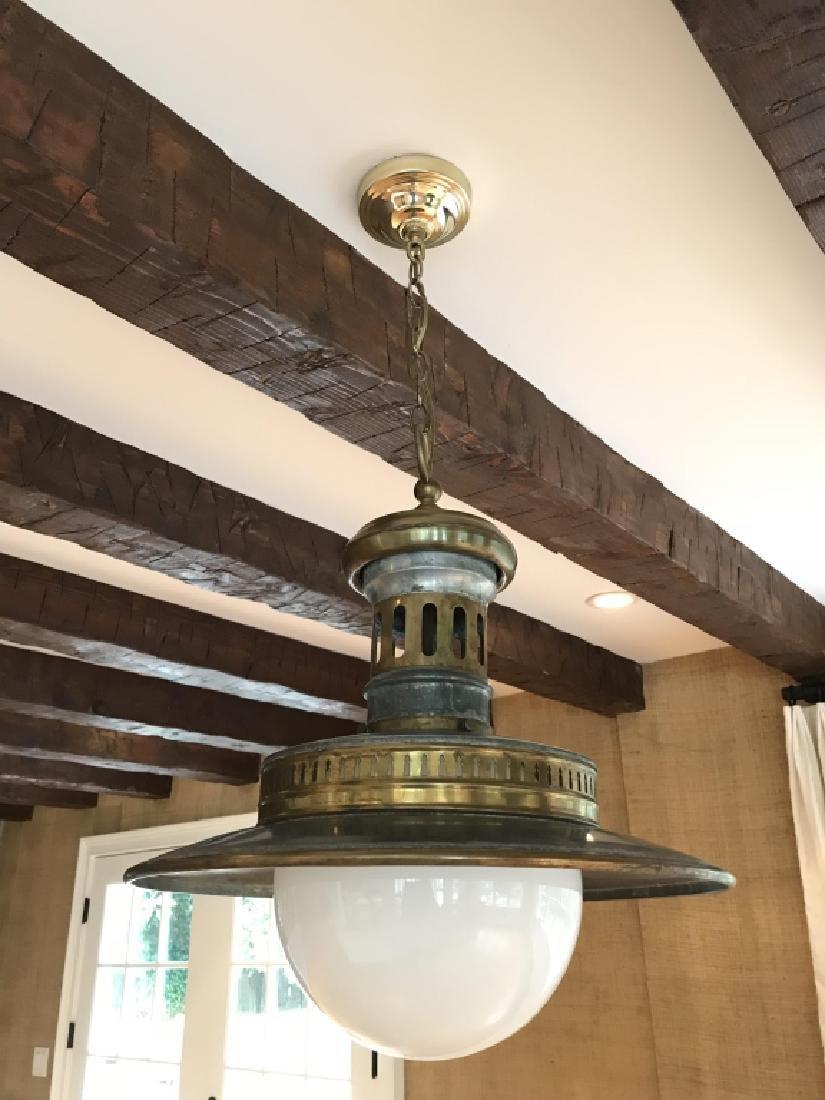 Pair Of Substatial Industrial Pendant Lamps