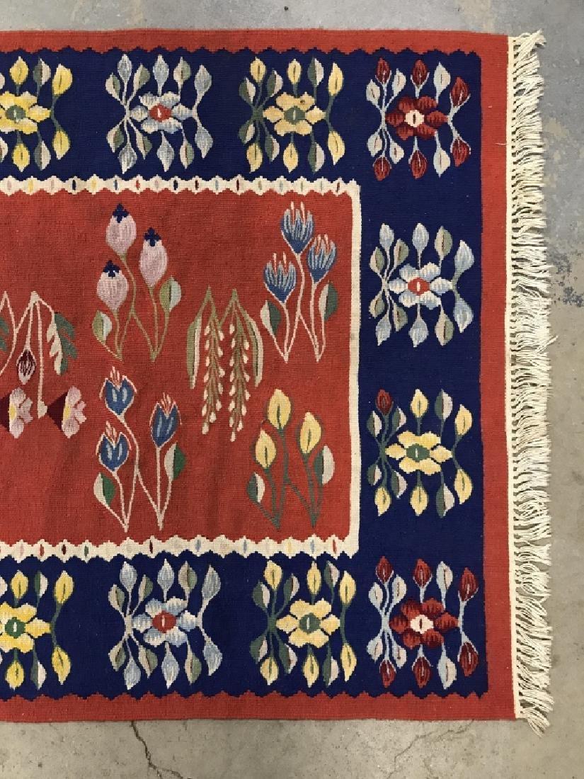 Vintage Hand Made Flat Weave Rug With Fringe - 3