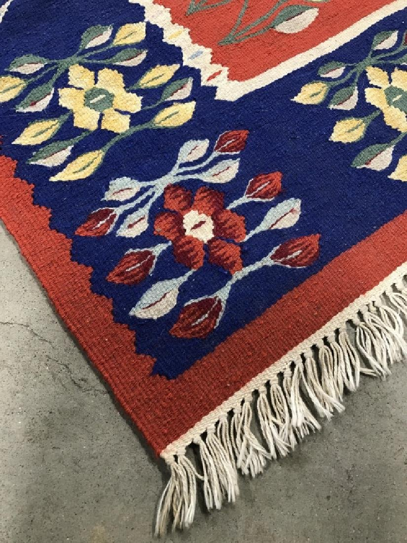 Vintage Hand Made Flat Weave Rug With Fringe - 4
