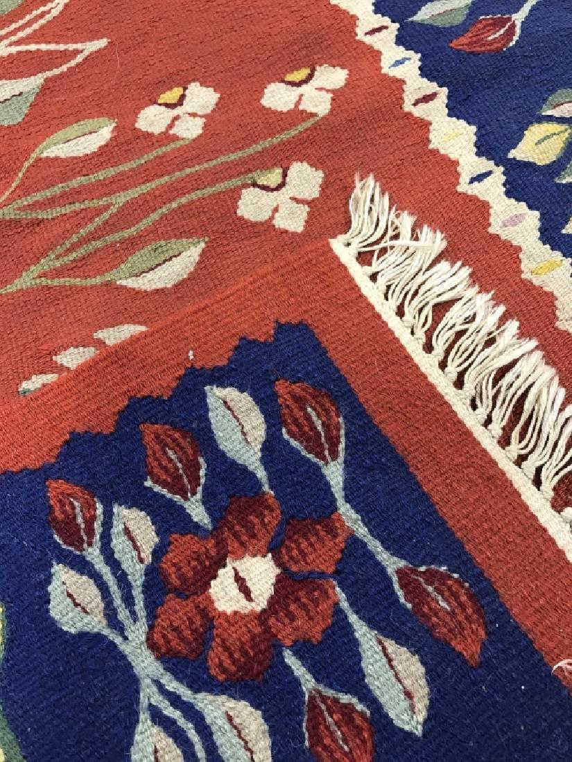 Vintage Hand Made Flat Weave Rug With Fringe - 5