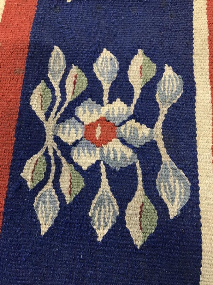 Vintage Hand Made Flat Weave Rug With Fringe - 7